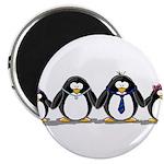 "Penguin family with 2 girls 2.25"" Magnet (10"