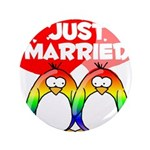 """Just Married Rainbow Penguins 3.5"""" Button (10"""