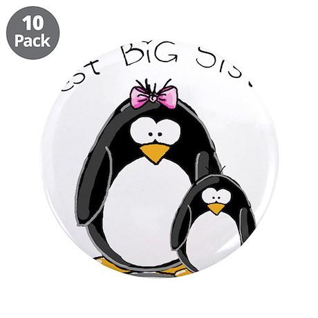 """Best Big Sister penguins 3.5"""" Button (10 pack"""