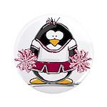 """Burgundy Cheerleader Penguin 3.5"""" Button (100"""