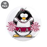 """Burgundy Cheerleader Penguin 3.5"""" Button (10"""