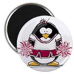 "Burgundy Cheerleader Penguin 2.25"" Magnet (10"