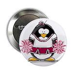 """Burgundy Cheerleader Penguin 2.25"""" Button (10"""