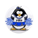"Blue CheerLeader Penguin 3.5"" Button (100 pac"