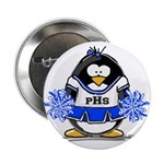 "Blue CheerLeader Penguin 2.25"" Button (100 pa"