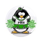 "Green CheerLeader Penguin 3.5"" Button (100 pa"