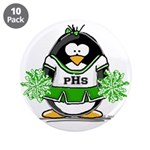 "Green CheerLeader Penguin 3.5"" Button (10 pac"
