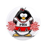 "Red CheerLeader Penguin 3.5"" Button (100 pack"