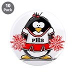 "Red CheerLeader Penguin 3.5"" Button (10 pack)"