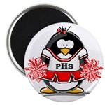 "Red CheerLeader Penguin 2.25"" Magnet (10 pack"