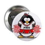 "Red CheerLeader Penguin 2.25"" Button (10 pack"