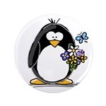 "Penguin with Flower Bouquet 3.5"" Button (100"