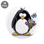 "Penguin with Flower Bouquet 3.5"" Button (10 p"