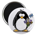 "Penguin with Flower Bouquet 2.25"" Magnet (10"