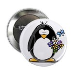"Penguin with Flower Bouquet 2.25"" Button (10"