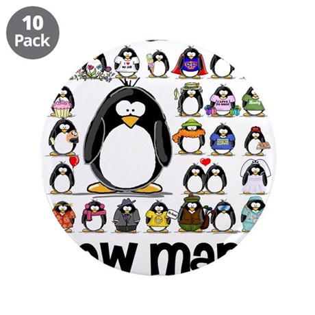 "too many penguins 3.5"" Button (10 pack)"