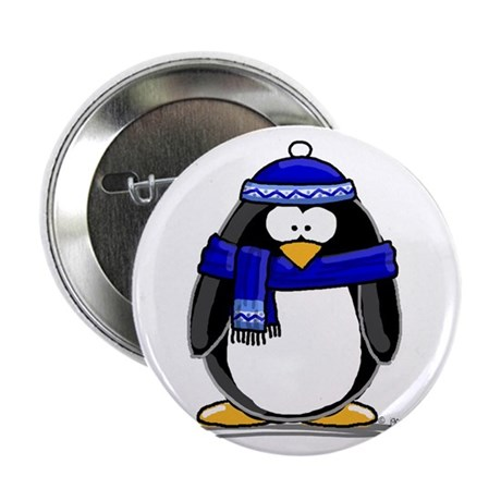 "Blue Scarf Penguin 2.25"" Button (100 pack)"