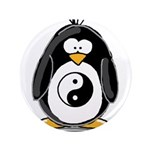 "Martial Arts Ying Yang pengui 3.5"" Button (10"