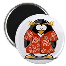 "Red Hawaiian Penguin 2.25"" Magnet (10 pack)"