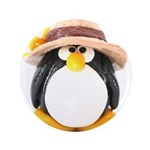 "Sunflower Hat Clay Penguin 3.5"" Button (100 p"