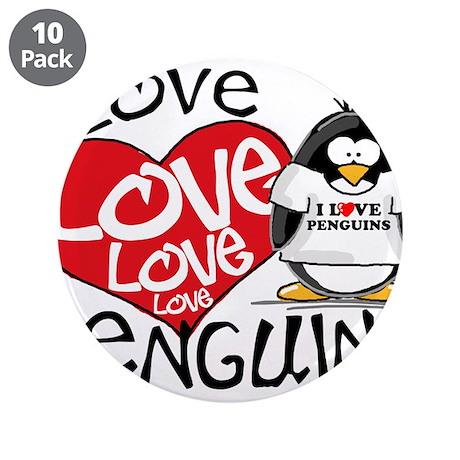 "I Love Love Love Penguins 3.5"" Button (10 pack)"