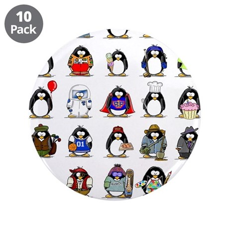 """Lots of Penguins 3.5"""" Button (10 pack)"""