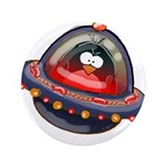 "Evil Space Penguin 3.5"" Button (100 pack)"
