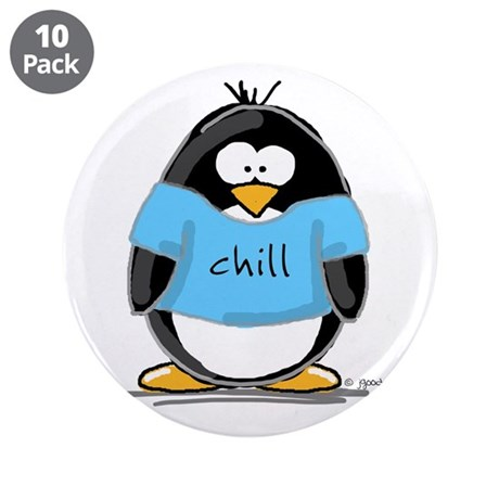 """Chill penguin 3.5"""" Button (10 pack)"""