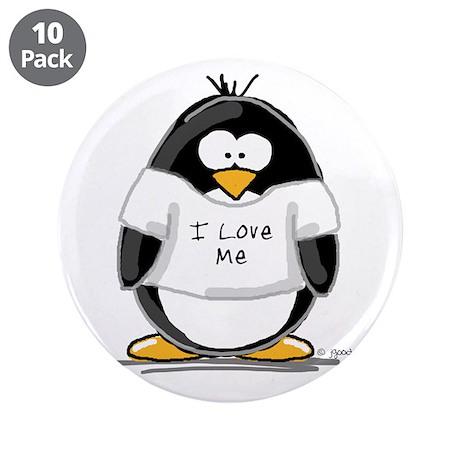 "I Love Me penguin 3.5"" Button (10 pack)"