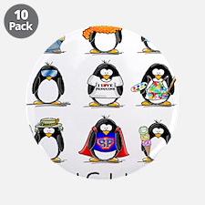"""9 Penguins 3.5"""" Button (10 pack)"""
