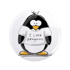 "I Love Penguins penguin 3.5"" Button (100 pack"