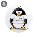 "I Love Penguins penguin 3.5"" Button (10 pack)"