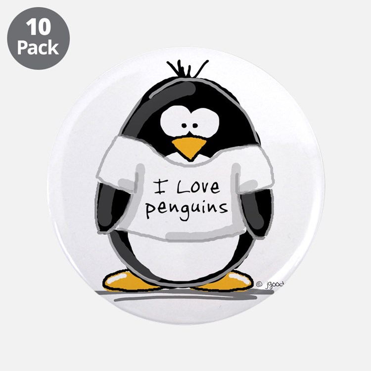 "I Love Penguins penguin 3.5"" Button (10 pack)"