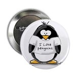 "I Love Penguins penguin 2.25"" Button (10 pack"