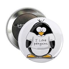 "I Love Penguins penguin 2.25"" Button (10 pack"