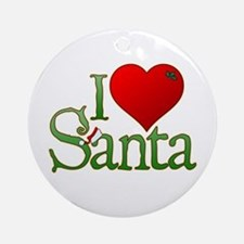 I Heart Santa Round Ornament