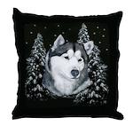Alaskan Malamute Winter Desig Throw Pillow