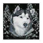 Alaskan Malamute Winter Desig Tile Coaster