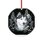 Alaskan Malamute Winter Desig Ornament (Round)