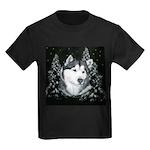 Alaskan Malamute Winter Desig Kids Dark T-Shirt