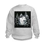 Alaskan Malamute Winter Desig Kids Sweatshirt