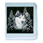 Alaskan Malamute Winter Desig baby blanket