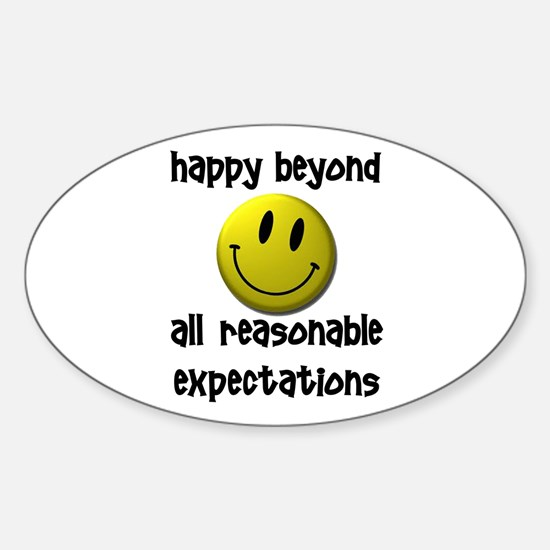 Happy Happy Happy Sticker (Oval)