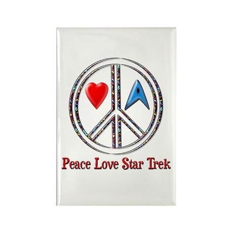 Peace Love Star Trek Rectangle Magnet