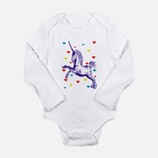 Funny Unicorn love Long Sleeve Infant Bodysuit