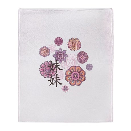 Little Sister with Flowers Throw Blanket
