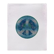 Peace Sign Blue 2 Throw Blanket