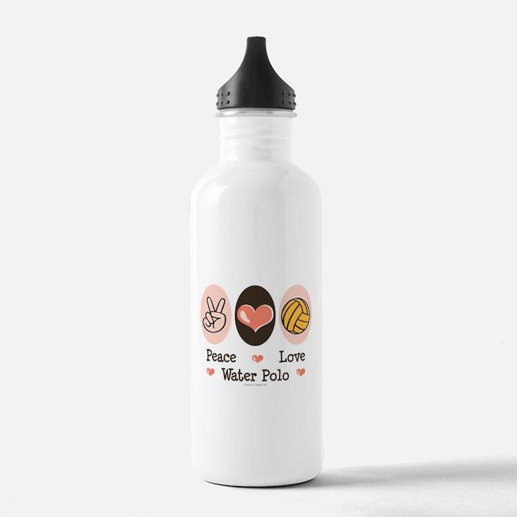 Peace Love Water Polo Sports Water Bottle