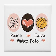 Peace Love Water Polo Tile Coaster