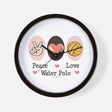 Peace Love Water Polo Wall Clock